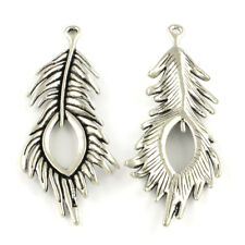 4 Large Peacock Feather Pendants Antiqued Silver Focal Charms Boho 71mm