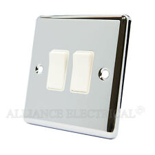 Polished Mirror Chrome Classical 2 Gang Switch -10 Amp CPC2GSWIWH
