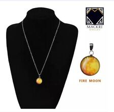 MACKRI Moon Silver Stainless Necklace Glow in the Dark FIRE MOON