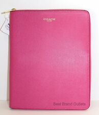 $198 COACH - SAFFIANO LEATHER ZIP AROUND IPAD CASE COVER # 66262 PINK - NWT