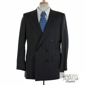 HUNTSMAN Suit Jacket 40 R in Charcoal Gray Sky Red Pinstriped Wool ENGLAND