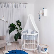 Baby Bedside Round Crib Bassinet Toddler Cot Bed 7 in 1 White Quilted Mattress
