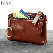 Men Oil Wax Leather Small Coin Change Zipper Wallet With Keyings Holder
