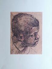 Tête d'Enfant Noir par VÉRONÈSE (1528-1588) Dessin Rehaussé Imprimé 197 x 270 mm