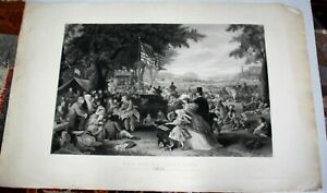The Day W Celebrate 1776 Centennial Patriotic Engraving after F Chaman Painting