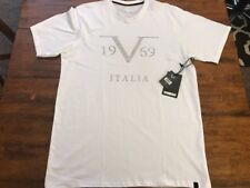 Versace 1969 Italia Men's White Silver V Neck Graphic Tee T Shirt Size 2XL New