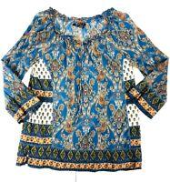 Lucky Brand Womens Size M Sheer Long Sleeve V-Neck Paisley Print Blue Boho Top