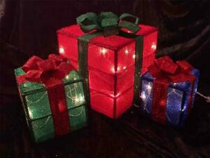 3pc Shimmering Light Christmas Gift Boxes~Indoor/Outdoor~New~Metallic Sparkles