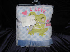 CARTERS BABY GIRL I LOVE TO SMILE FROG PLUSH FLEECE BLANKET BLUE WHITE HEART NEW