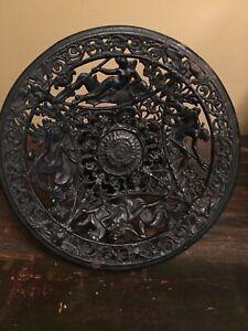 Vintage Wrought Iron Pedestal Tazza With Greek Motifs Victorian