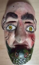 Vintage Carved Wood, Painted Festival Mask, Mexico, Face & Frog Figure
