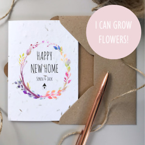 PERSONALISED New Home Card / SEEDED Plantable Card / Moved House Congratulations