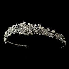 Antique Silver Clear Rhinestone & Freshwater Pearl Rose Bridal Wedding Tiara