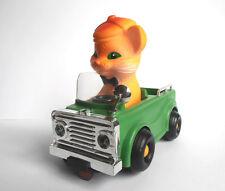 1980s USSR Russian Soviet Toy Rubber CAT in Plastic CAR