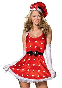 HOLIDAY PINUP ADULT WOMENS COSTUME Satin Dress Polks Dots Christmas Party Attire