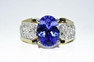 "$6,000 4.87CT NATURAL ""AAA"" TANZANITE & DIAMOND COCKTAIL RING 14K YELLOW GOLD"