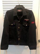 Harley Davidson Cafe Las Vegas Black Denim Jean Jacket Live Hard Ride Easy