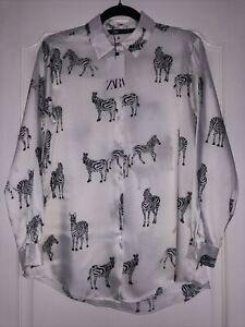 BNWT ZARA White and Black Zebra Animal Print Satin Shirt Size M