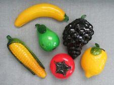 Set of 6 Murano Glass Fruits & Vegetables- Corn Grapes Pear Banana Tomato Lemon