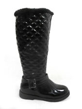 NEW LADIES WOMENS LOW HEEL QUILTED KNEE HIGH GRIP ZIP BOOTS SIZE 3 FUR LINED