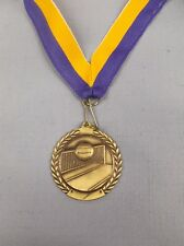 "gold Volleyball medal with blue/gold neck drape trophy award 1 3/4""  diameter"