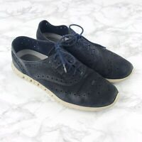 Cole Haan Zerogrand Womens Suede Blue Perfroated Wingtip Oxford Shoes Size 8.5