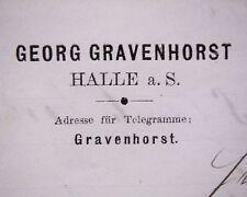 HALLE/Saale 1884, Georg GRAVENHORST, Litho Rechnung an Landfried RAUENBERG