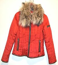 Michael KORS Women's RED DOWN Feather Fill Coat Detachable Raccoon FUR Trim Hood