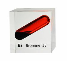 Bromine liquid ampule in 50mm acrylic cube 99.9% pure for element collection