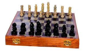 Wooden Handcrafted Chess Game Board Set Marble Chess Board with Storage Box VA01