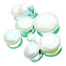 "PAIR-Pyrex Glass Aurora Borealis Double Flare Ear Plugs 12mm/1/2"" Gauge Body Jew"