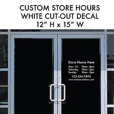 STORE HOURS Business Custom Cut-out Vinyl Decal Sticker 12x15 Window Door Glass