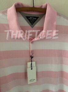 NWT XL Adi-Pure By Adidas Pink Stripe Polo Golf Shirt Stretch Pastel Extra Large