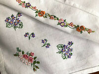 VINTAGE HAND EMBROIDERED Floral Motifs WHITE LINEN TABLECLOTH 41x42 Inches