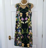 Monsoon Tropical Floral Shift Dress Size 12 Black Yellow Tropical Print Wedding