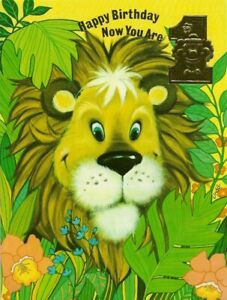 Happy 1st Birthday Vintage 1970's Greeting Card ~ Cute Lion ~ First 1 Year Old