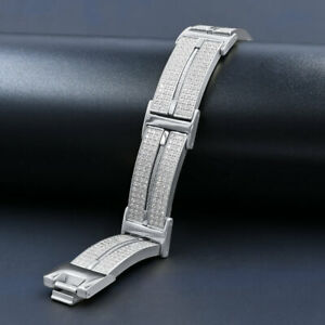 """Men's 14K White Gold Tone Over Stainless Steel """"Icy Simulated Diamond Bracelet"""