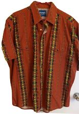 "Wrangler Western Shirt Aztec Pearl Buttons Sz Xl Tag Missing Vintage 52"" Chest"