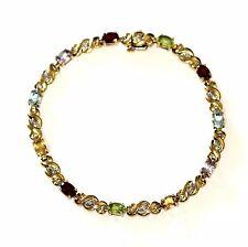 "10k yellow gold amethyst garnet topaz peridot citrine diamond bracelet 8g 8"""