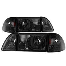 Ford 87-93 Mustang Smoke Tinted Lense Headlights Corner Lamps GT LX SVT
