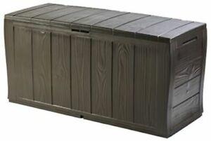 Large Garden Outdoor Box Bench Plastic Storage Organizer Bin Box Yard Furniture