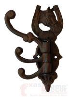 Western Swivel Hook Horse Head Shoe Rustic Cast Iron Coat, Hat, Purse, Towel