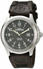 New Timex Men's T40091 Expedition Metal Field Brown Leather Strap Watch