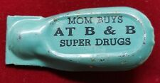 1940's B&B SUPER DRUGS PHARMACY & PACKAGE STORE SHELBYVILLE IN. CLICKER TOY RARE