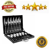 24 Piece Flatware Tableware Silver Set Stainless Steel Cutlery Set Service for 6