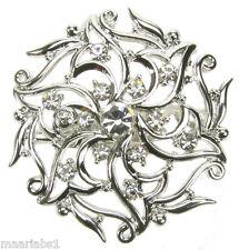 ARGENTO Diamante Strass Fiore Spilla spilla pin bigiotteria-NUOVO-UK