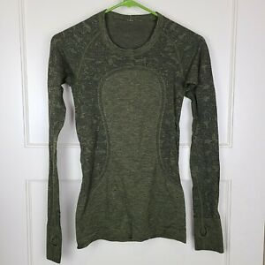 Lululemon Run Swiftly Tech Women's Long Sleeve Shirt Army Green Size 4