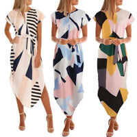 Women Holiday Short Sleeve Floral Printed V Neck Beach Party Maxi Long Dress