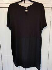 Tu Black Longline, Dipped Hem T-shirt. Size 16
