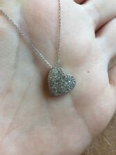 14K WHITE GOLD NATURAL PAVE .35CT DIAMOND FLOATING HEART PENDANT NECKLACE